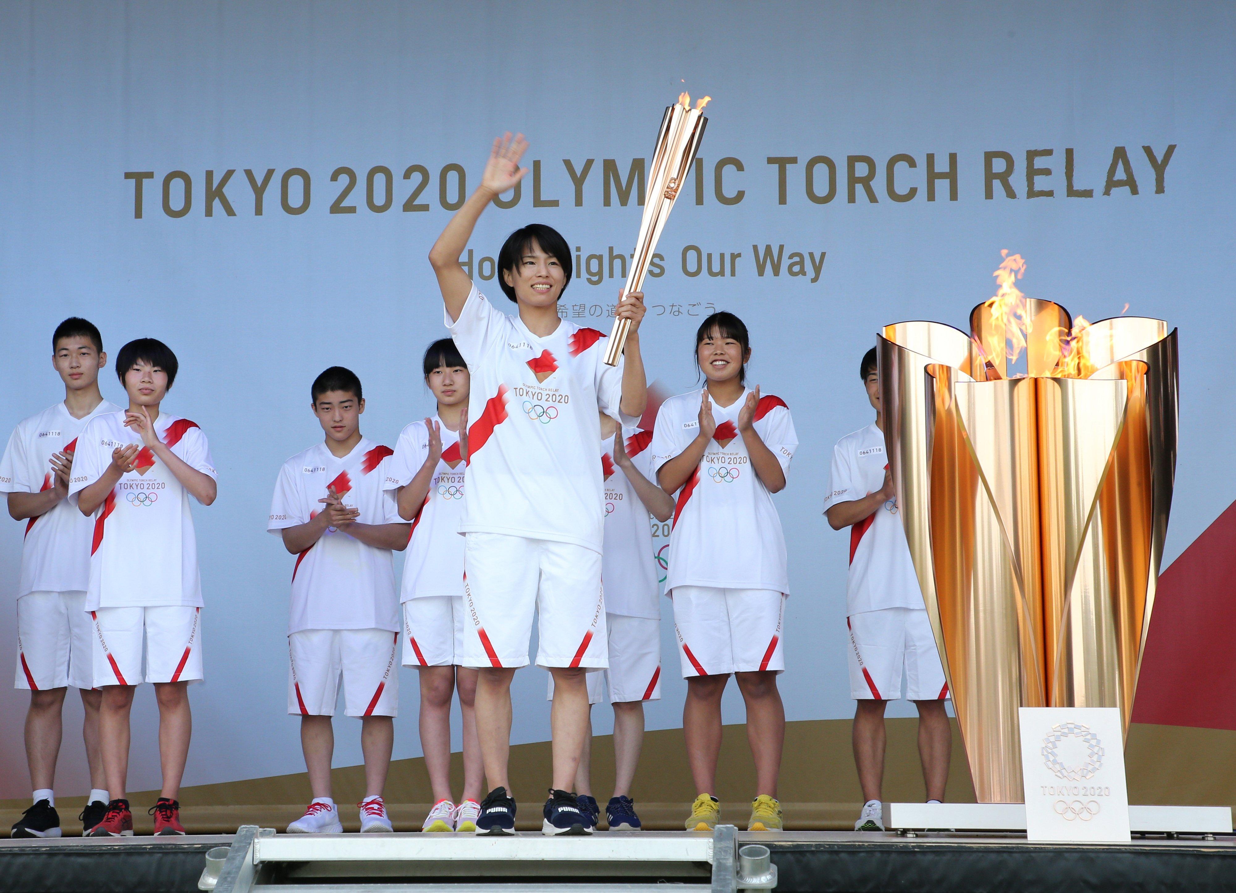 東京五輪の点火セレモニーに参加した松本 ©JIJI PRESS