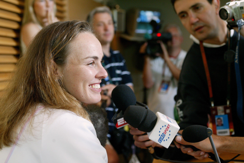 2006年6月の全仏OPで記者会見に臨むマルチナ・ヒンギス ©Getty Images