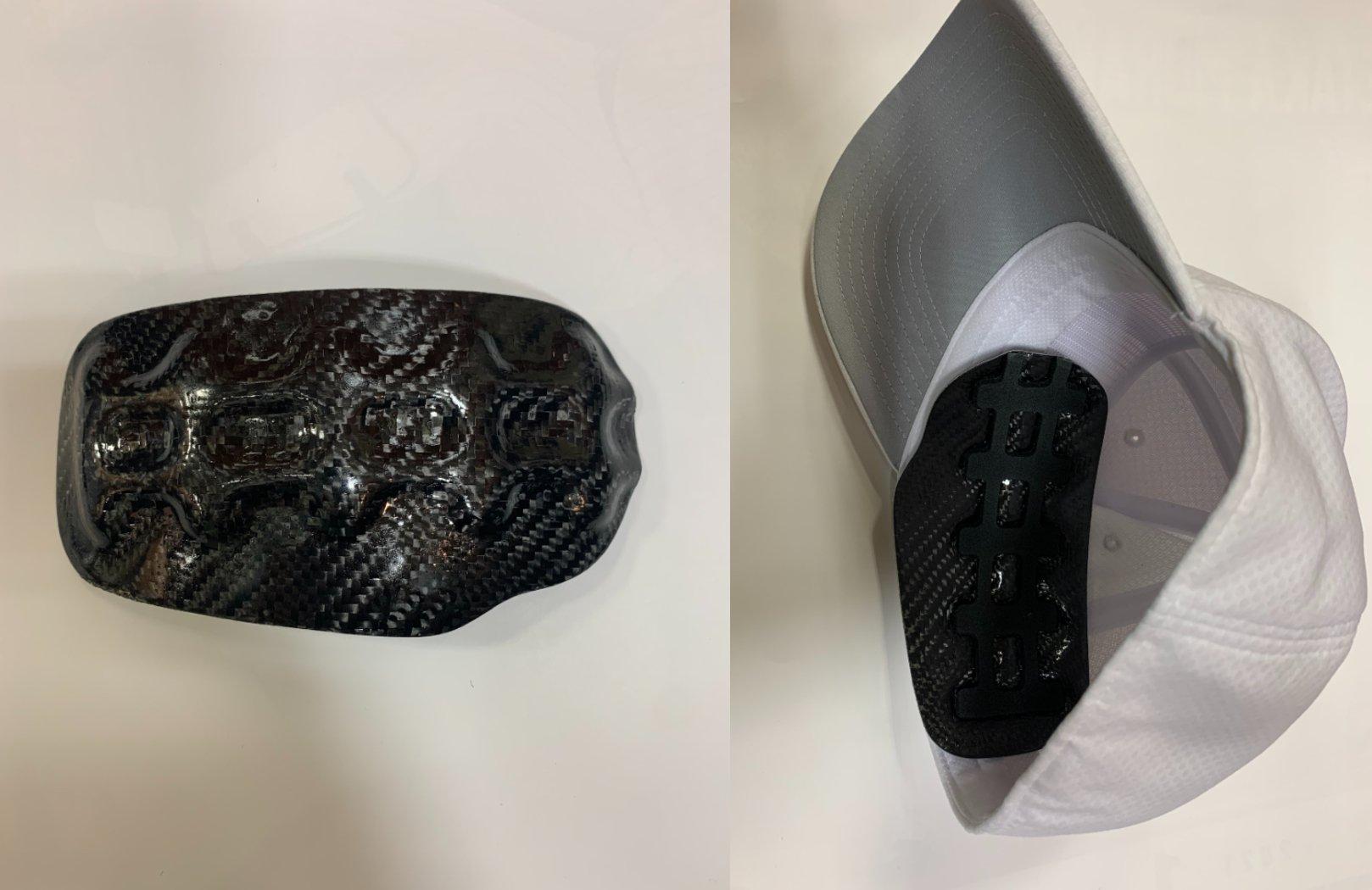 SST社が開発したヘッドガード(右投げ用)。大小のマジックテープ(付属)をアイロンで装着して装着/筆者撮影