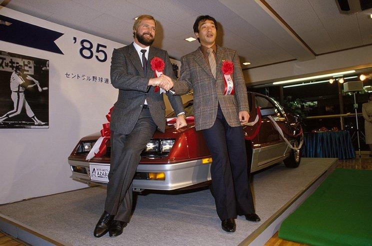 """85年、落合(右)とともに三冠王に輝いたバースだが、日本での""""稼働期間""""は意外と短かった©Yohei Maruyama"""