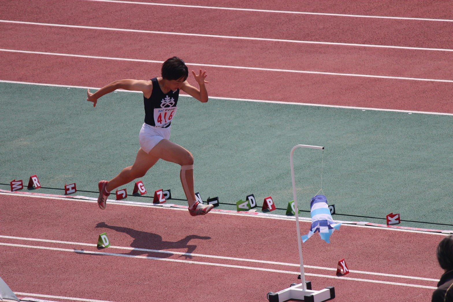 高校3年時、和歌山インターハイに走幅跳で出場した(写真は本人提供)