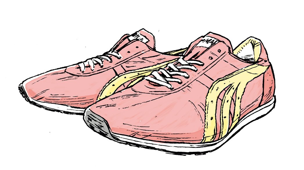 箱根駅伝創設に尽力した金栗四三のマラソン足袋を作ったのがハリマヤ。1982年発売の『カナグリ ノバ』は当時世界最軽量の靴だった。