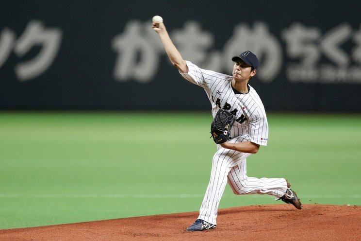 2014年、MLB選抜相手に投げた侍ジャパンの大谷©Getty Images