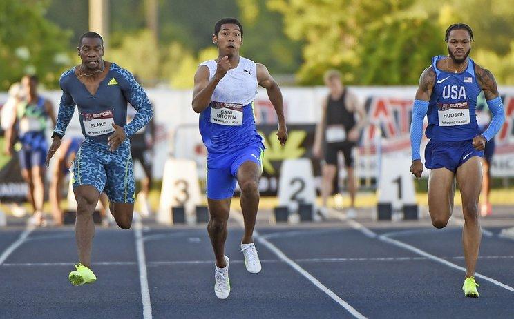 今季初レースとなった米フロリダ州の陸上競技会で100mに出場し、10秒25を記録 (C)KYODO
